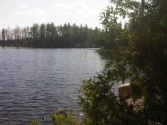 View campsite from swim island Lake Two 713