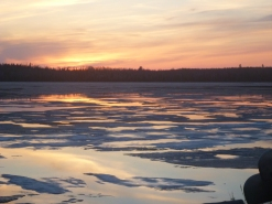 Sunset over Moose Lake ice. By TMI. All rights.