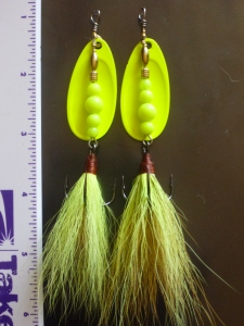 Hancrafted #5 French-Blade Inline Spinners with tied, dressed chartreuse bucktail trebles size 2. The pleasure is in the fun of making and the joy of fishing them!