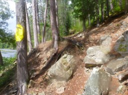 Almost 200 rod portage from Cedar to Petawawa ends at this rocky steep put-in