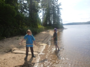Ethan and Leah on Horse  Lake sandy beach